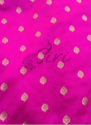 Fancy Banarasi Silk Fabric in Pink with Zari Buti