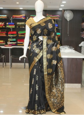 Fancy Banarasi Silk Saree in Black