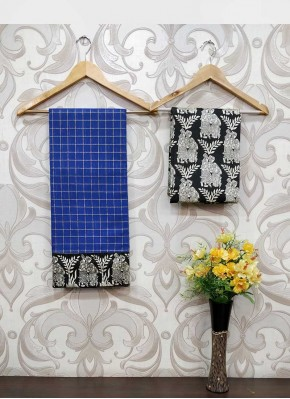 Fancy Blue Chanderi Saree in self Zari Checks Teamed with Printed Blouse Fabric
