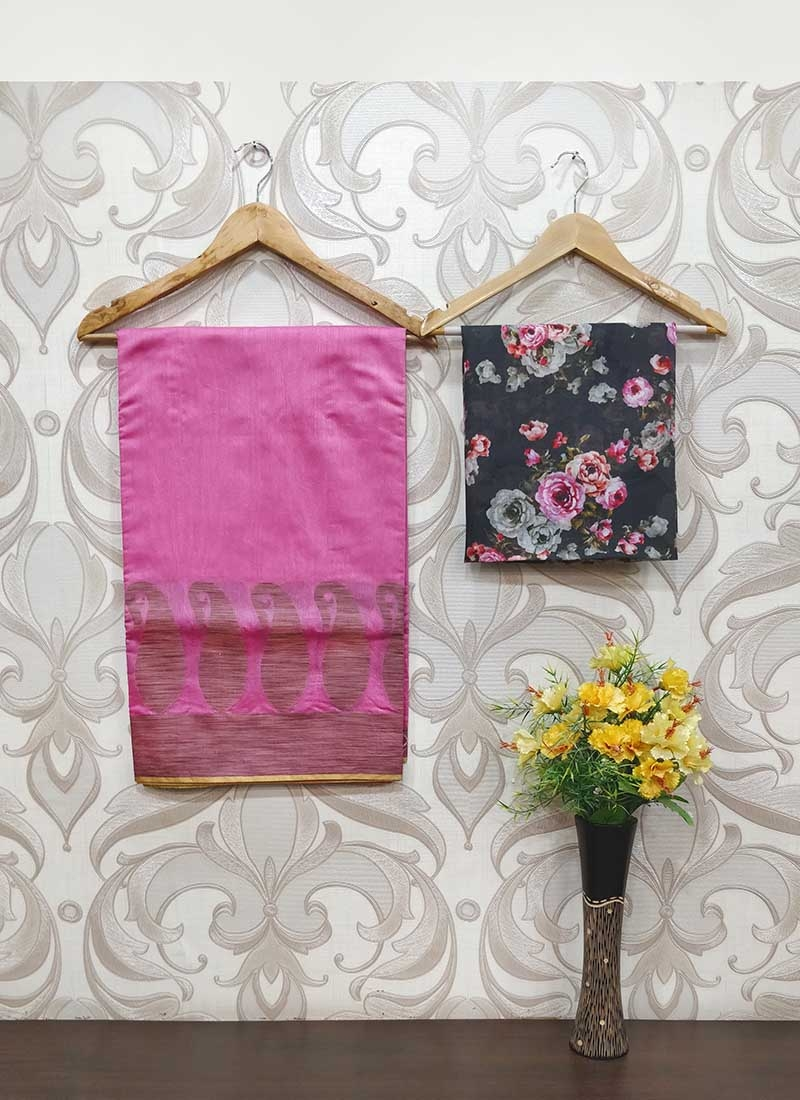 Fancy Chanderi Cotton Saree Teamed with Digital Print Blouse Fabric