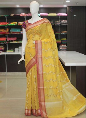 Fancy Chanderi Cotton Silk Saree