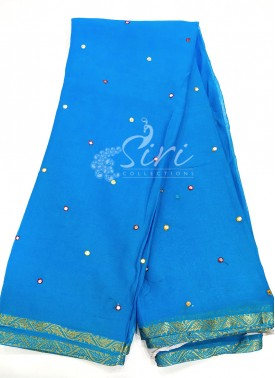 Fancy Chiffon Saree in Multi Mirror Work with Zari Border