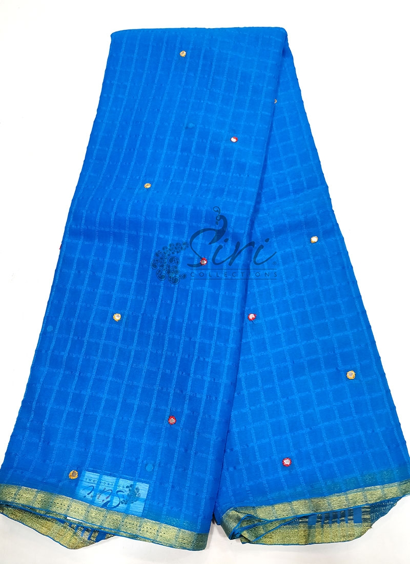 Fancy Chiffon Saree in Self Checks and Mirror Work