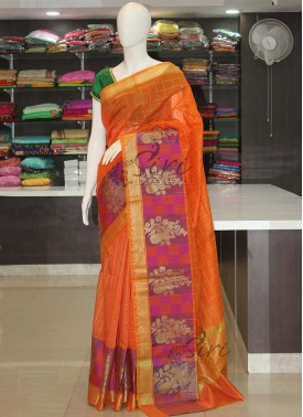 Fancy Cotton Silk Orange Saree in Checks