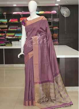 Fancy Cotton Silk Saree in Purple Grey