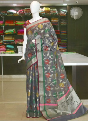 Fancy Cotton Silk Saree in Self Checks