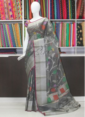 Fancy Cotton Silk Saree in Self Checks Allover Jaal