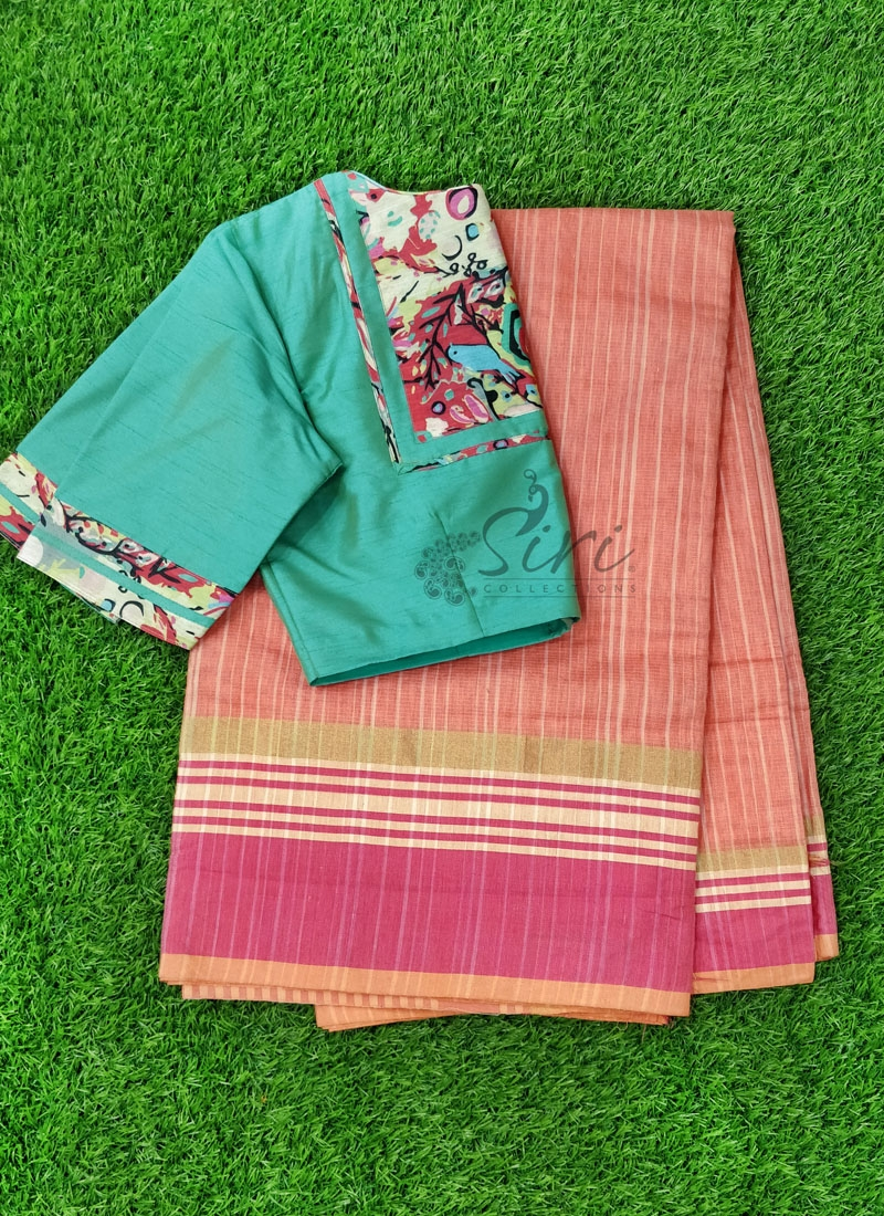 Fancy Cotton Silk Saree with Patterned Blouse