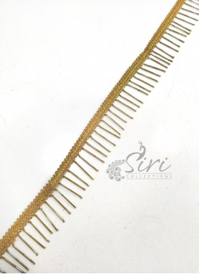 Fancy Gold Long Beads Work Lace Trim Border