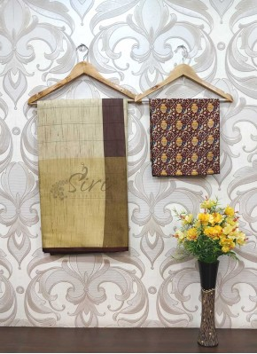 Fancy Jute Cotton Saree Teamed with Digital Print Blouse Fabric