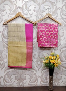 Fancy Jute Cotton Saree Teamed with Printed Blouse Fabric