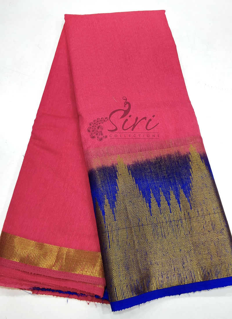 Fancy Jute Saree in Contrast Border and Pallu
