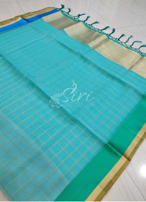 Fancy Kora Saree in Satin Finish Borders and Zari Checks