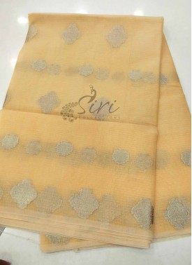 Fancy Kota Saree in Baby Yellowish Peach