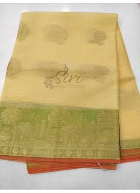 Fancy Kota Saree in Pastel Yellow and Green