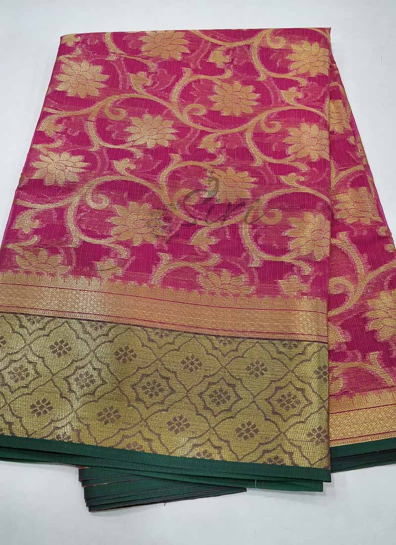 Fancy Kota Saree in Pink and Green