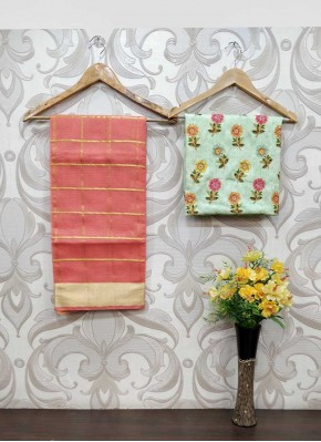 Fancy Kota Saree Teamed with Embroidery Work Raw Silk Blouse Fabric