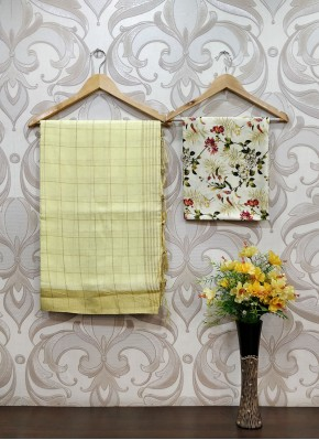 Fancy Linen Saree in Self Zari Checks with Digital Print Blouse Fabric
