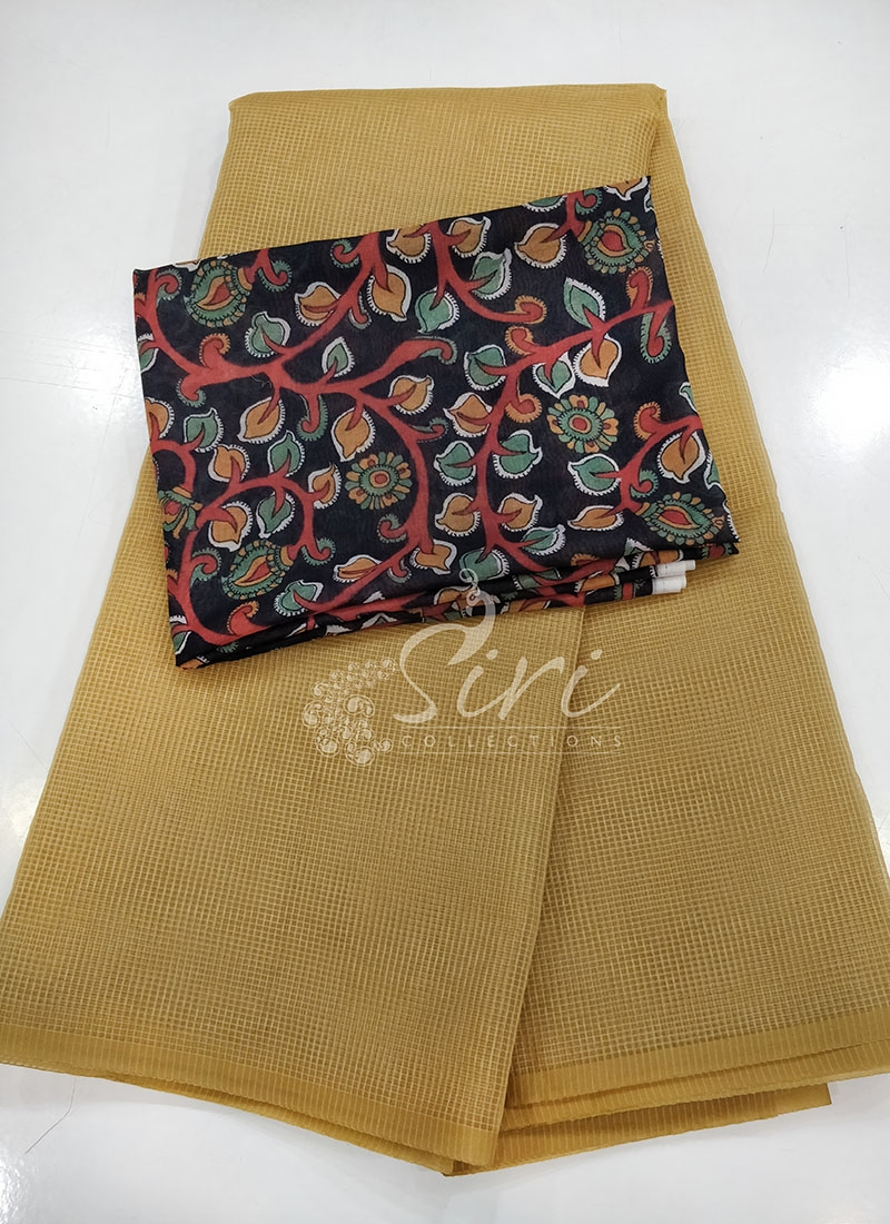 Fancy Manipuri Silk Saree in Self Checks with Digital Print Blouse
