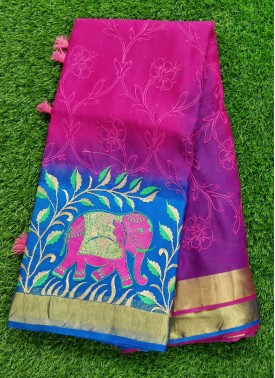 Fancy Organza Saree in Embroidery Work