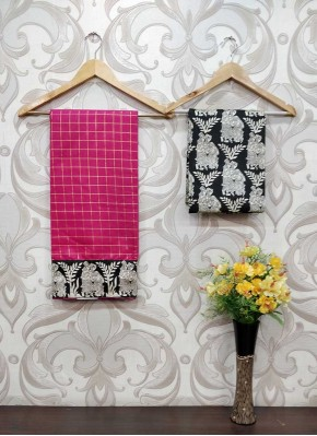 Fancy Pink Chanderi Saree in self Zari Checks Teamed with Printed Blouse Fabric