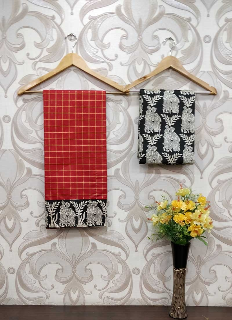 Fancy Red Chanderi Saree in self Zari Checks Teamed with Printed Blouse Fabric