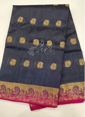 Fancy Silk Saree in Dark Grey and Magenta