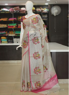 Fancy Silver Tissue Saree in Embroidery Work Butis