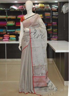 Fancy Silver Tissue Saree in Mirror Work