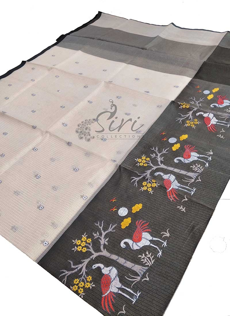 Fancy Tissue Kota Saree in Embroidery Work