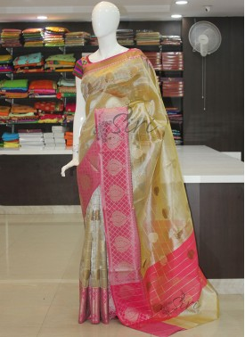 Fancy Tissue saree in Beige and Pink