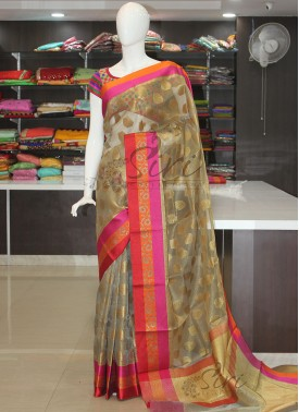 Fancy Tissue Saree in Self Zari Checks and Multi Borders