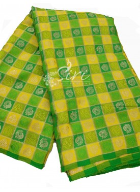 Fancy Yellow Green Banarasi Silk Fabric Per Meter