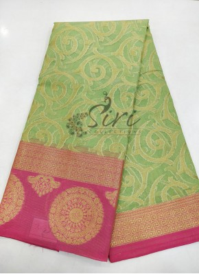 Festive Banarasi Supernet Saree in Contrast Border Pallu