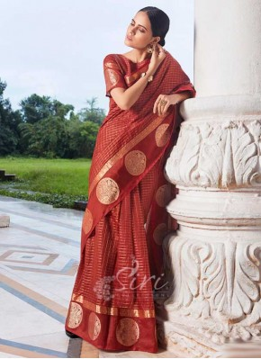 Festive Cotton Silk Saree in Traditional Borders
