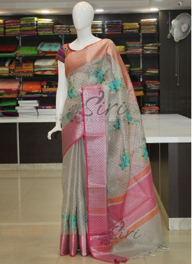 Festive Silver Tissue Saree in Kanchi Borders and Embroidery Work
