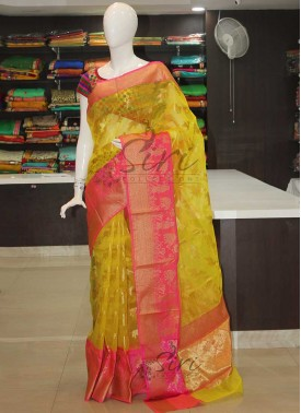 Festive Yellow Banarasi Kora Saree With Pink Border
