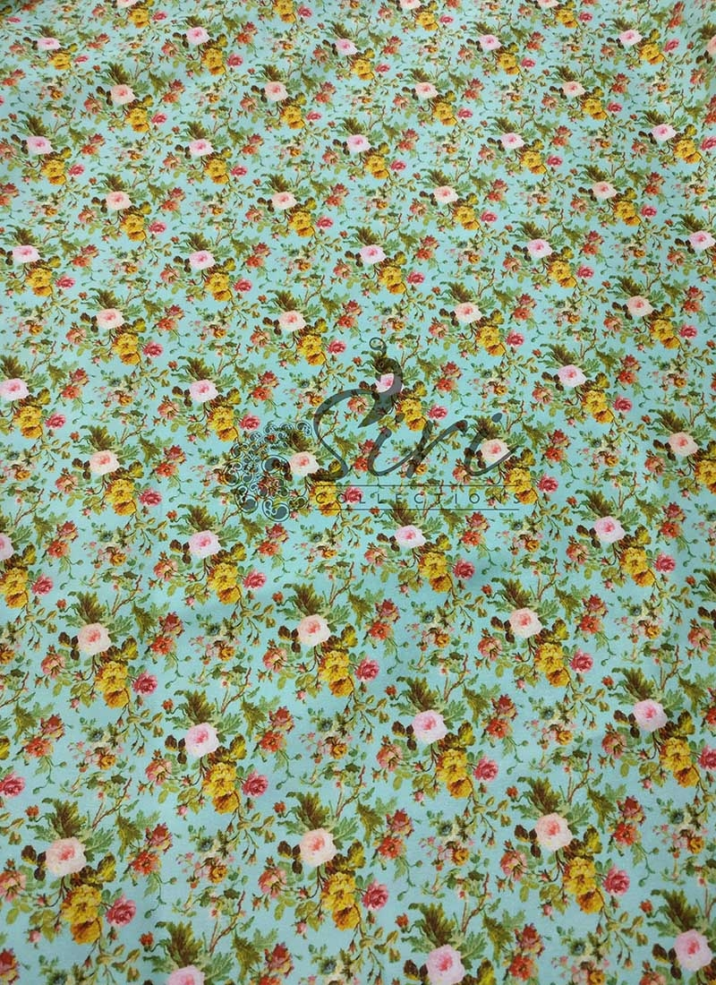 Floral Design Digital Print Satin Fabric Per Meter