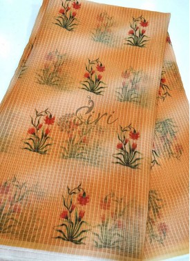 Floral Digital Print Kora Fabric in Self Checks Per Meter