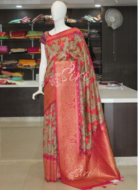 Floral Print Fancy Banarasi Dupion Silk Saree in Rich Pallu