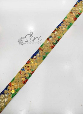 Floral Print Fancy Lace Border in Sequins Work