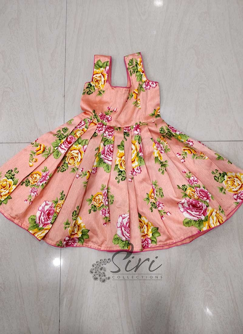 Floral Print Peach Frock for 1 yr old