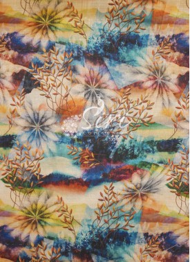 Flowers and Leaves Design Digital Print Raw Silk Fabric By Meter