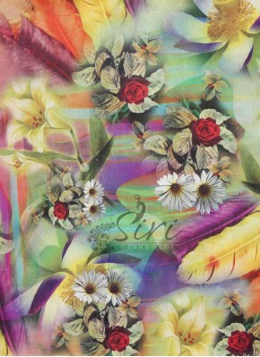Flowers Digital Print Raw Silk Fabric By Meter