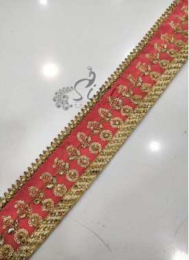 Gajri Gold Velvet Border Lace in Stone Work and Sequins Work