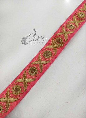 Gajri Pink Border Lace in Gold Embroidery Work