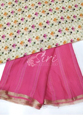 Gajri Pink Chiffon Saree in Self Jute Stripes