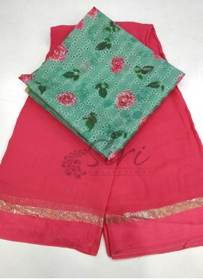 Gajri Pink Georgette Saree in Satin Borders With Digital Print Blouse Fabric