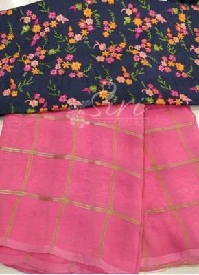Gajri Pink Georgette Saree in self checks with Designer Blouse Fabric