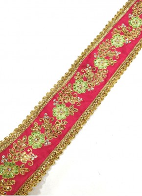 Gajri Pink Gold Lace Trim Border in Cording Embroidery and Stone Work